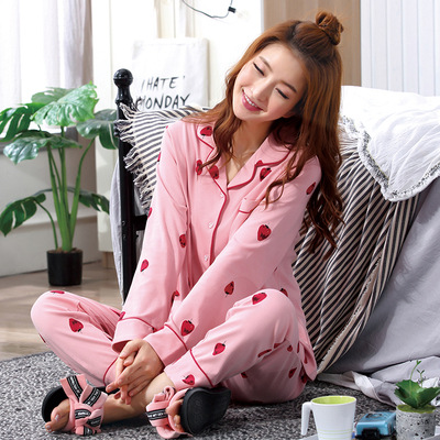 Spring And Autumn Pajamas Women's Qmilch Long Sleeve Sweet Cardigan Plus-sized Large Size With Cotton Casual Tracksuit