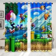 Super 2 painéis dos desenhos animados/conjunto de cortinas janela japão jogo anime blockout foto cortina impressão tecido janela presente