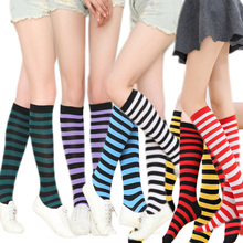 Colorful women's striped Stockings Casual Cotton Thigh under Knee socks Japanese ladies stockings Striped summer girls stockings