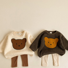 Winter Baby Girls Boys Cute Cartoon Bear Thicken Warm Sweatshirts Tops Kids Children Long Sleeve Hoodies Outerwear