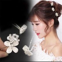 5Pcs Crytal Flower Bridal Headpieces Tiaras de Noiva Handmade Women Wedding Jewelry Accessories Leaf Headress Hairpins for Bride