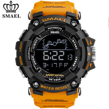 SMAEL Mens Watch Military Waterproof Sport Wrist Watch Digital Stopwatches For Men 1802 Military Watches Male Relogio Masculino cheap Plastic CN(Origin) 22cm 3Bar Buckle ROUND 22mm 19mm Acrylic Chronograph Auto Date Stop Watch Week Display Perpetual Calendar