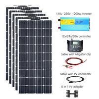 600w Off Grid Solar Kit 5pcs 120w Flexible Solar Panel Monocrystalline Module 50A Controller 1000w Pureshine Inverter
