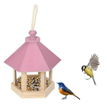 Wooden Bird Feeder with Roof for Garden