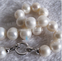 "+++ 01064 18"" 13-17mm White AA Freshwater Pearl Necklace Huge Size Strand Jewelry(China)"