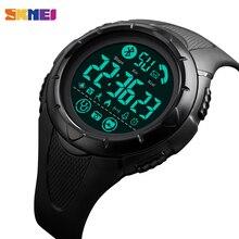 Marca skmei relógio inteligente dos homens de luxo sono monitor de freqüência cardíaca smartwatch relógios digitais à prova dwaterproof água relógio android ios