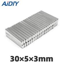 AI DIY 5/20/50 pcs 30x5x3mm N35 strong Rectangular neodymium magnet permanent Super powerful Cuboid Block magnets 30 * 5 3mm