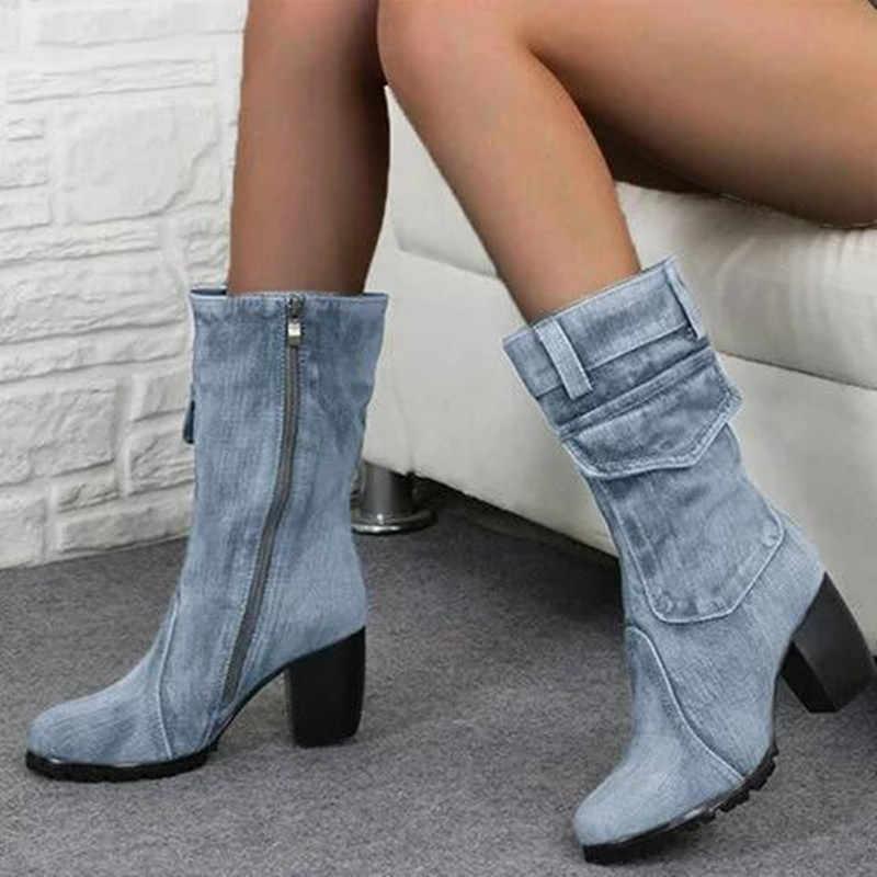 Denim çizmeler kadın orta katlı roma düz renk büyük boy ayakkabı kadın Slip-On tıknaz orta buzağı çizmeler chaussures femme M1091