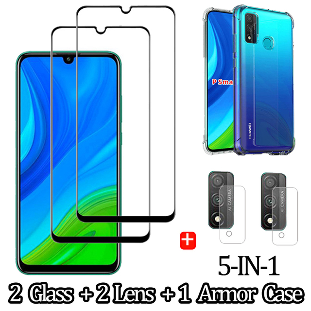 1 5 Pcs Glass Case p smart 2020 2021 huawei honor 9a 3D Glass Screen Protector honor 9 c huawei p smart 2021 Tempered Glass