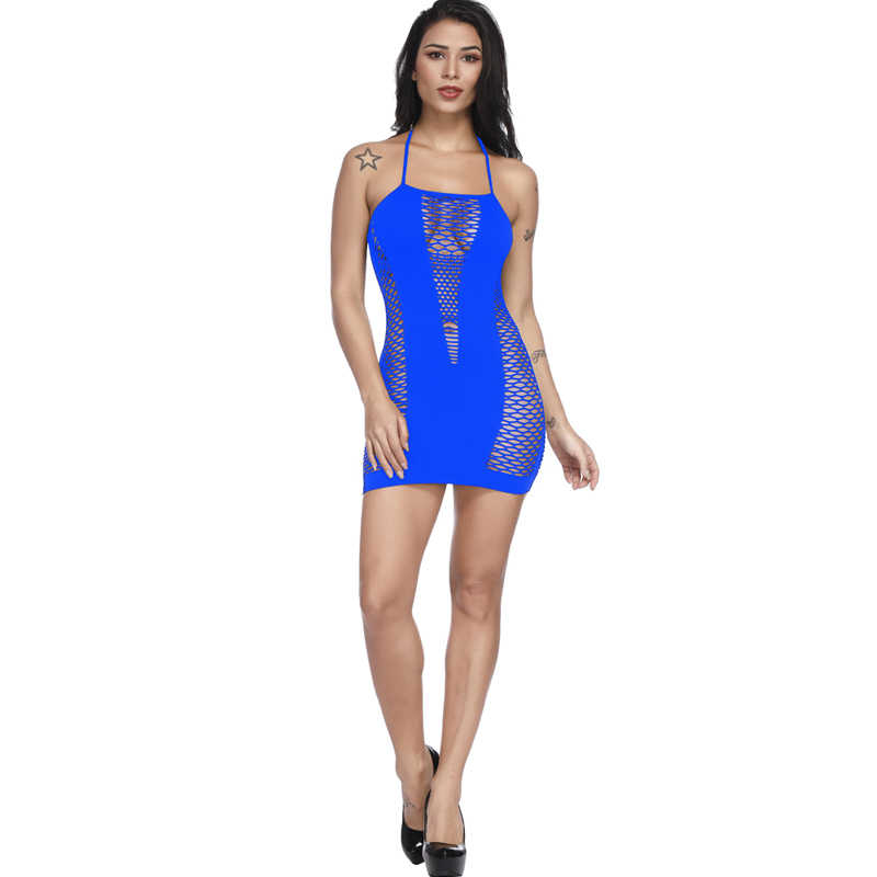 女性のランジェリーネットスカート全身中空アウトフィッシュネット伸縮性ランジェリーランジェリーベビードールミニドレス