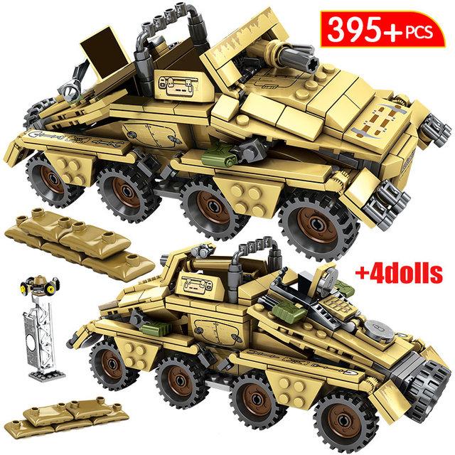 Diy City German Armored Car Bricks For  WW2 Military Empires of Steel Assault Trucks Building Blocks Toys For Children