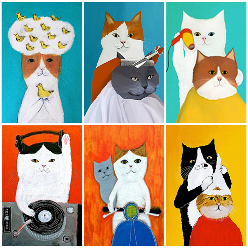 Azqsd Paint By Number Cat Canvas Painting Kits Home Decoration Diy Coloring By Numbers Animal On Canvas Set Unique Gift Mega Promo Deab Cicig