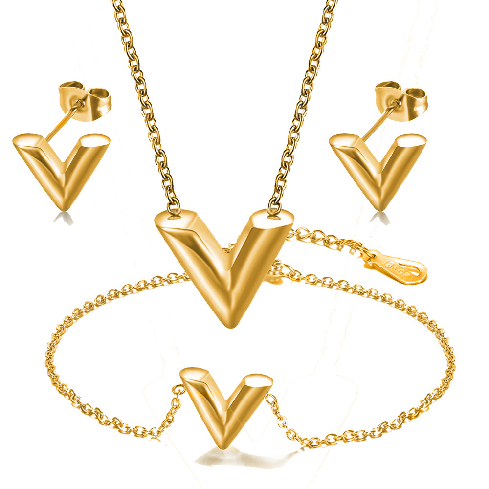Fashion Jewelry Sets High Quality Stainless Steel Lette V Bracelet Pendant Necklace Earrings For Women Stud Earrings