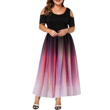 2019 New Fashion Design Women Dress Plus Size Elegant Gradient Color Hollow Out Short Sleeve Summer Casual Party Vestido