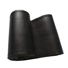 AOZBZ Universal 38cm Durchmesser Auto Lenkrad Abdeckung Faser Leder Mit Weichen Anti-Slip Schwarz DIY Braid & nadeln Gewinde