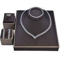 Schmuck Set HADIYANA Hochzeit Halskette Ohrringe Ring Armband Wunderschöne Elegante Set Für Frauen Zirkon CN1113 Haar Sieraden Bruiloft