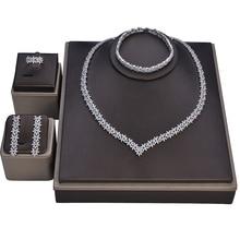 Set di gioielli HADIYANA collana da sposa orecchini anello bracciale splendido Set elegante per donna zircone CN1113 Haar Sieraden Bruiloft