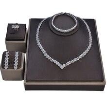 Zestaw biżuterii HADIYANA naszyjnik kolczyki ślubne bransoletka pierścionek wspaniały elegancki zestaw dla kobiet cyrkon CN1113 Haar Sieraden Bruiloft