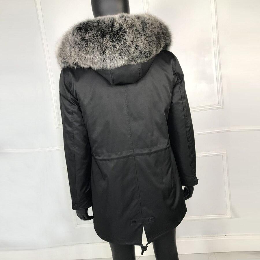 Новинка 2019, черная парка с натуральным мехом для мужчин, зимняя куртка, натуральный мех енота, с капюшоном, пальто, натуральный мех кролика, п... - 2