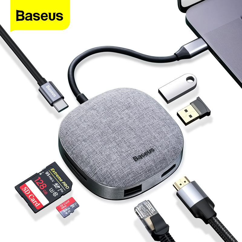 Baseus PD USB Type C HUB To HDMI RJ45 Multi USB 3.0 HUB For MacBook Pro USB C Adapater TF SD Card Reader Fabric USB3.0 HUB Dock