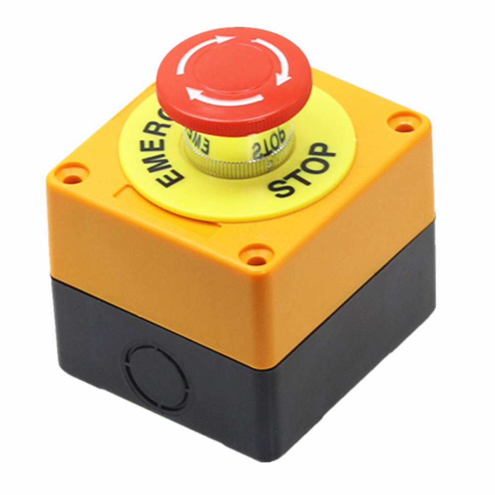 1PCS Plastic Shell Red Sign Push Button Switch DPST Mushroom Emergency Stop Button AC 660V 10A NO+NC LAY37-11ZS