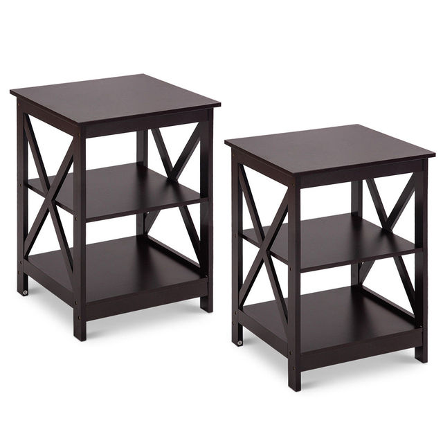 Costway 2PC 3-Tier Nightstand End Table  1