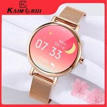 2021 pełna zegarek Smart Watch z ekranem dotykowym dla kobiet, tętno ciśnienie krwi Sport zegarek kobieta, inteligentny zegarek kompatybilny dla Android iOS