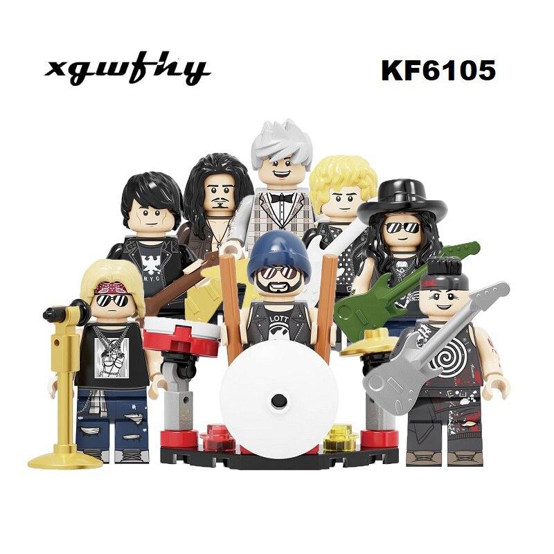 NEW Building Blocks Rock Band Guns N' Roses Axl Rose DJ Ashba Tommy Stinson Frank Ferrer Figures Toys For Children KF6105 JM362