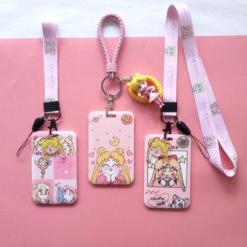 11x7cm Anime Sailor Moon Girls Pink Bus titular de la tarjeta del Banco de Crédito con cordón colgante muñeca estudiante dibujos animados escuela tarjetas de identificación cubierta