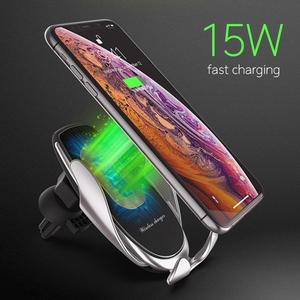 Image 3 - AZiMiYO 15W Wireless Car Charger Automatic Clamping phone Holder For iPhone 11 Pro xr Huawei Samsung Smart Phone