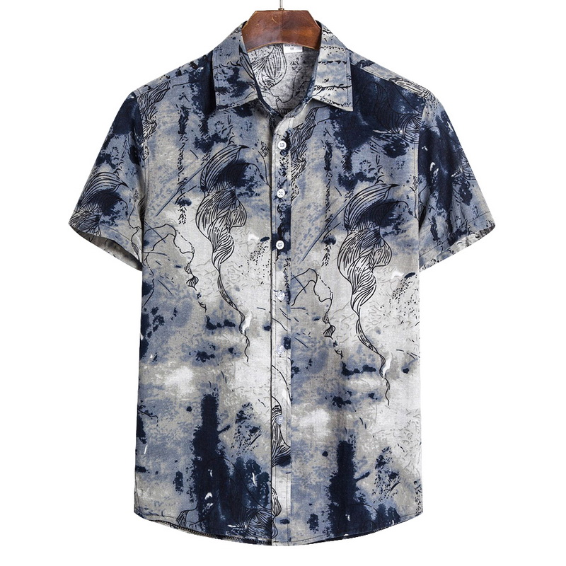 Adisputent 2020 Men Shirts Short Sleeve Printed Casual Blouse Hawaiian Shirt Male Tops Summer Geometric Plus Size Shirts 5XL