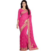 Indian Saree Pink Gold Embroidery Ethnic Traditional Wedding Wear