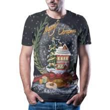 Camiseta de calavera de animacin con Nueva estampado digital 3D callejero de Navidad a la moda estilosantes Camiseta deportiva