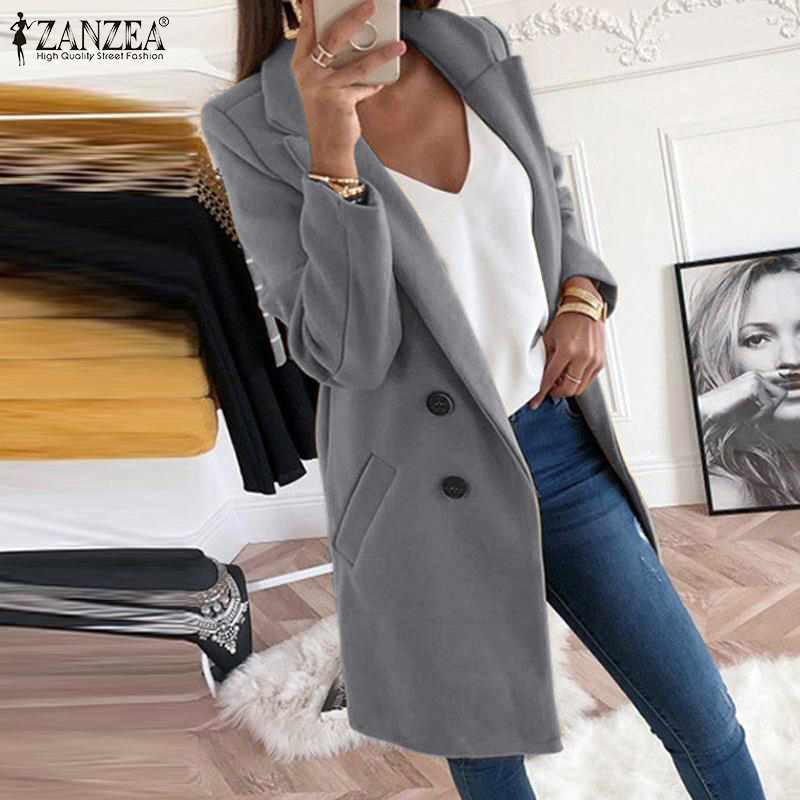 ZANZEA Women Long Blazer 2019 Winter Ladies Casual Warm Long Sleeve Coat Suits Plus Size Vintage Blazer Feminino Chaqueta Mujer