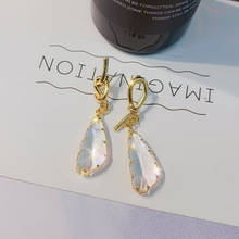 S925 Silver Needle Earrings Korean Asymmetric Geometric Transparent Crystal Metal Knotted Individual