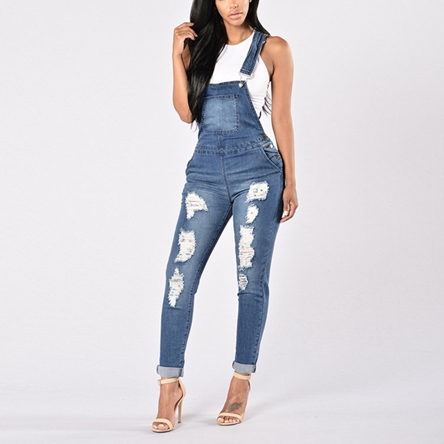 2019 New Spring Women Overalls Cool Denim Jumpsuit Ripped Holes Casual Jeans Sleeveless Jumpsuits Hollow Out Rompers 2XL