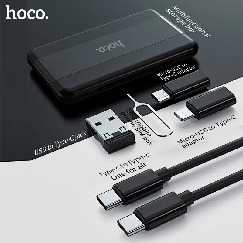 Универсальный контейнер для хранения адаптера Hoco 6 в 1 с кабелем Micro USB и адаптером Type-C, набор для зарядки для iPhone, Xiaomi, дорожная сумка для хран...
