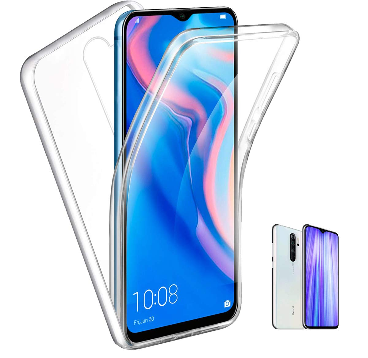 360 Full Body Case For Xiaomi Redmi Note 8 Pro 7 7A 6 5 4 6A Mi 9 Lite A3 9T A2 8T Double Sided Silicone TPU Double Transparent