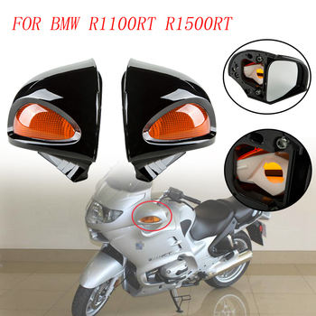 1 Pair Motorcycle Rearview Mirrors Gloss Black Side Blind Spot Glass Mirror With Amber Turn Signal Lens For BMW R1100RT R1500RT image