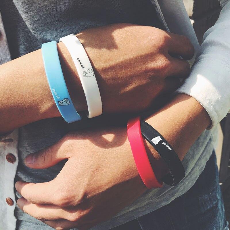 Fashion brand original goaway cartoon pattern creative silicone bracelet hip hop fashion rubber wrist strap accessories for men