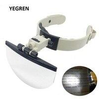 Große Objektiv Kopf Tragen Lupe mit LED Beleuchtet Hand Freies Lesen Lupe 2X 3 5X4 5X5 5 X f/Sammlung Stempel|Lupen|Werkzeug -