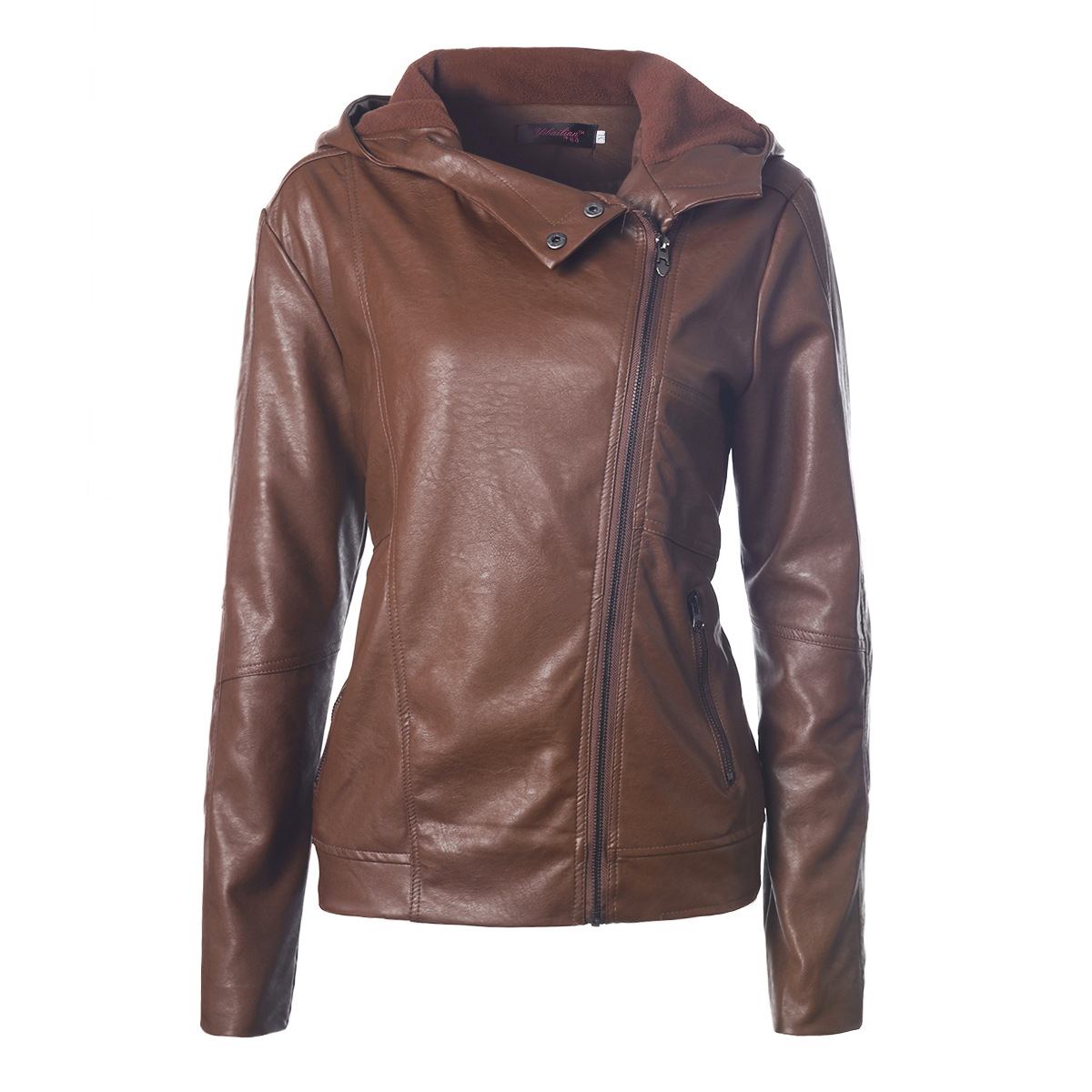 Escalier new fashion hooded long sleeve solid color women's   leather   jacket retro women's coat