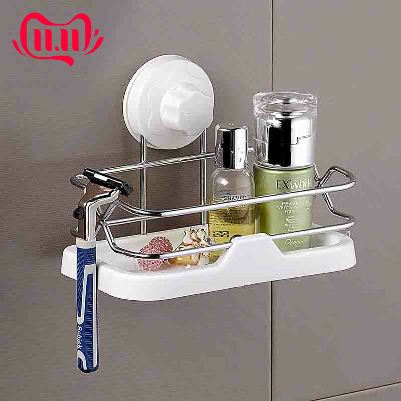 Durable Storage Racks Suction Cup Bathroom Shelf With Removable Wall Mount Holder For Shampoo Bath Kitchen Organizers