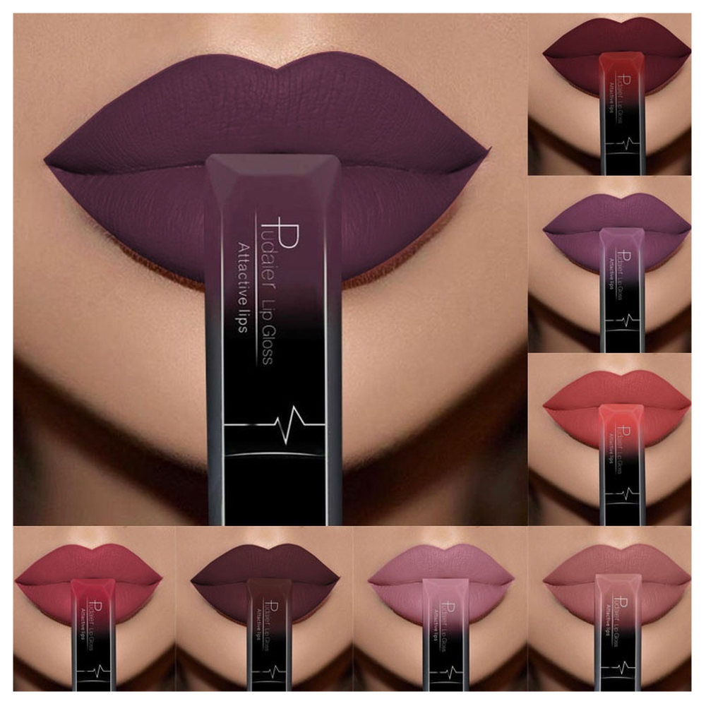 ><font><b>Hot</b></font> Sale Nude Matte Liquid Lipstick Waterproof Velvet Lipsticks Long Lasting Women Lips Makeup <font><b>Sexy</b></font> Red Lip Gloss Tint 21 Colors