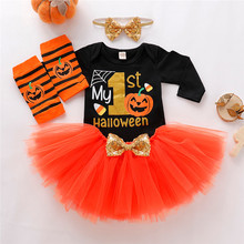 Get more info on the 2019 Fashion Baby Girls Halloween Letter Romper Tulle Skirts HairBand Leg Warmer Outfits Set