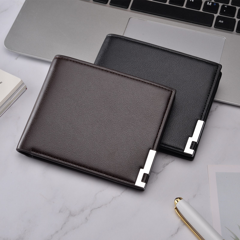 2019 Men's Wallet Pu Leather Double Fold Men's Wallet Casual Close-fitting Multi-function Leather Bag Clutch Bag