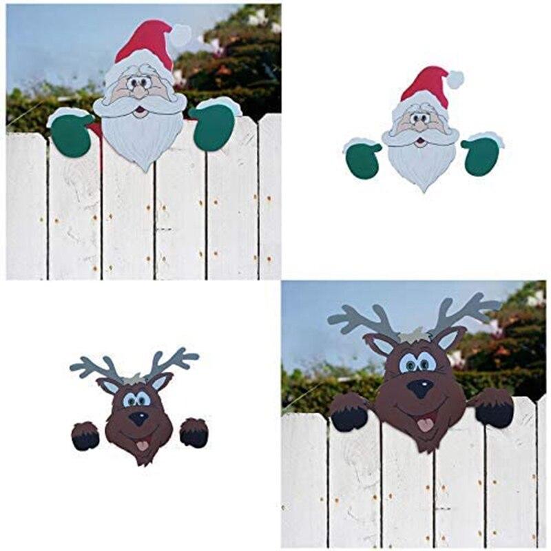 Санта Клаус Рождественская изгородь Peeker для отдыха на открытом воздухе украшения прочный многоразовая SAL99