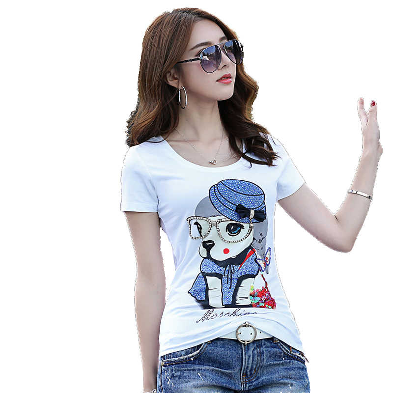 Europa Vrouwen High Fashion O Hals Strass Kralen 3D Cartoon Leuke Katoenen T-shirt Tops Vrouwelijke Casual Oversize Pailletten shirt