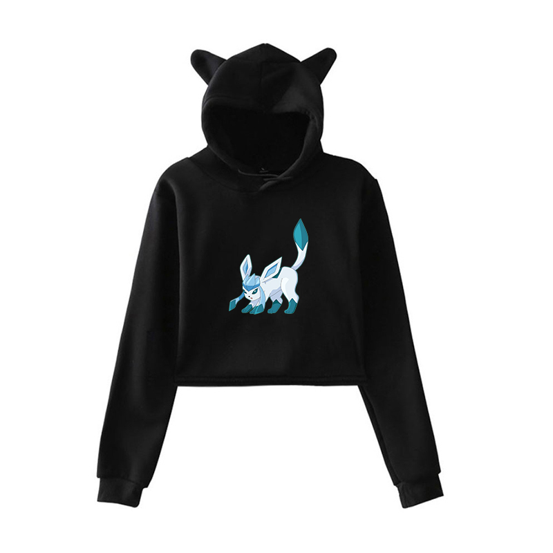 Pokemon Kawaii Hoodies Harajuku Sweatshirt Women Pink Clothing Pullovers Short Clothes for Girls Outwear Winter Long Sleeve Tops image