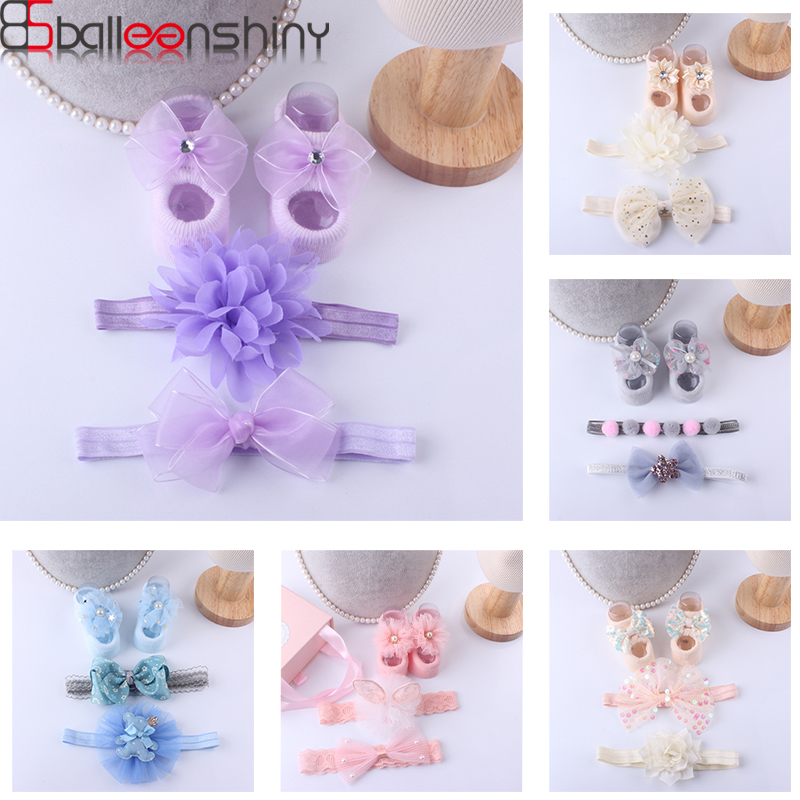 BalleenShiny 3Pcs Baby Princess Handband With Socks Lace Flower Head Accessories Toddler Bowknot Headwear Cotton Socks Gift